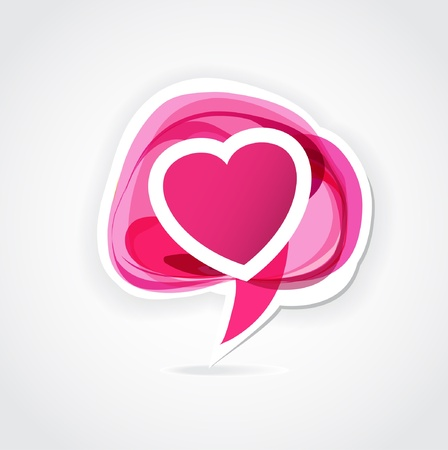 Love bubble  Vector illustration with abstract heart speech bubble  Vector