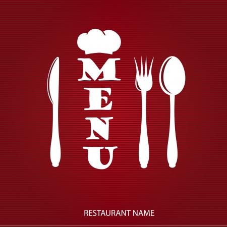 ナイフ、スプーンとフォークでレストランのメニューのデザイン