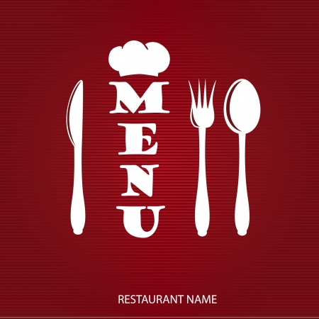 Restaurant menu design with knife, spoon and fork Illustration