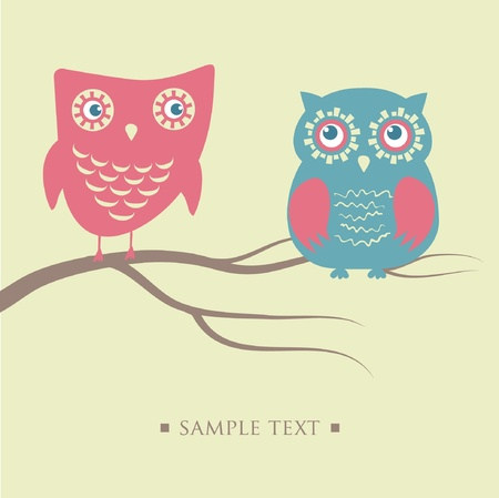 Owls couple sitting on the tree branch  Illustration