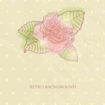 Vintage card with hand drawn rose on dark background  Vector