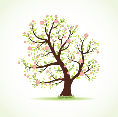 Vector illustration of beautiful spring tree with fresh new leaves, small pink flowers and green grass  Vector