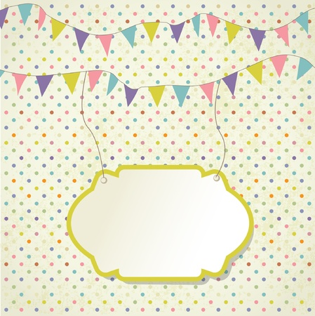 triangle flag: Vintage frame with floral branch and small hearts