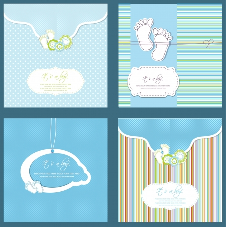 boy feet: Set of four baby boy shower card in blue colors