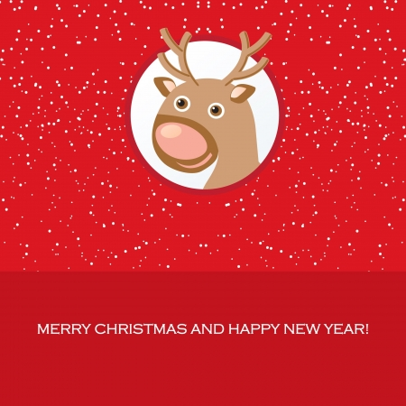 Christmas card with cute reindeer Stock Photo - 15554376