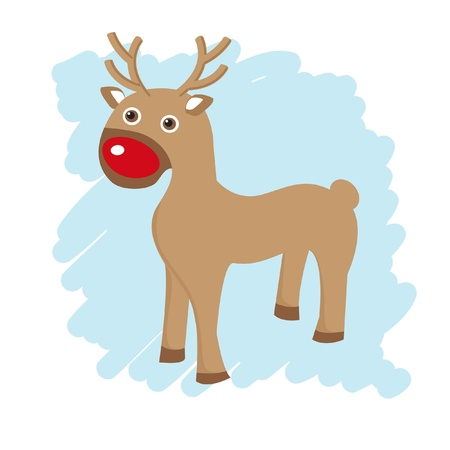 Christmas card with cute reindeer  Stock Photo - 15554369