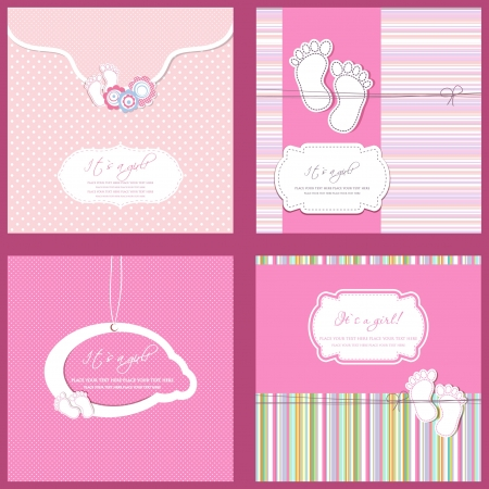 girls feet: Set of four Baby girl shower card in pink colors