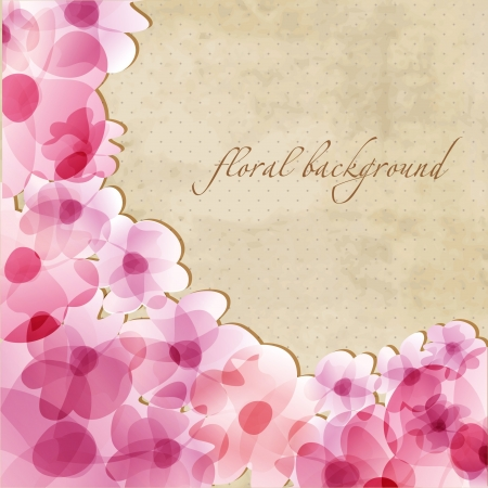 Floral background with watercolor pink flowers and frame for your text  photo
