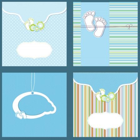 Set baby boy announcement card  vector illustration Vector