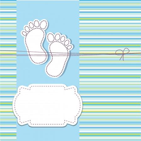 boy feet: baby boy announcement card  vector illustration