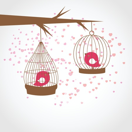 Vintage card with two cute birds in retro cages photo