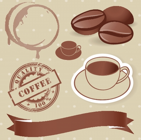 Vector set of vintage coffee elements  photo