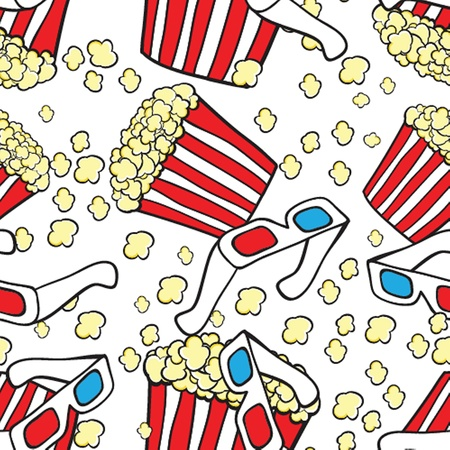 Popcorn and 3d glasses  Cinema concept background photo