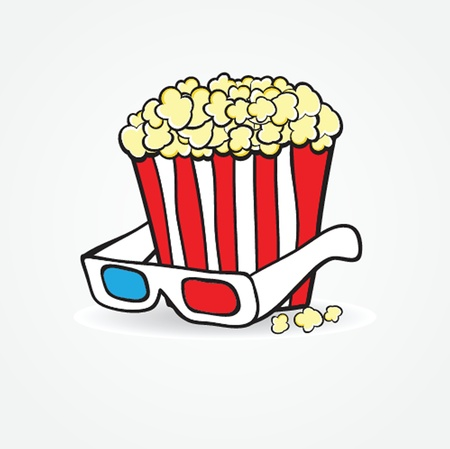 Popcorn and 3d glasses  Cinema concept background Stock Photo - 19028476