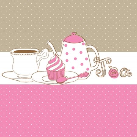Card with tea cap, pot and sweet cupcake Vector