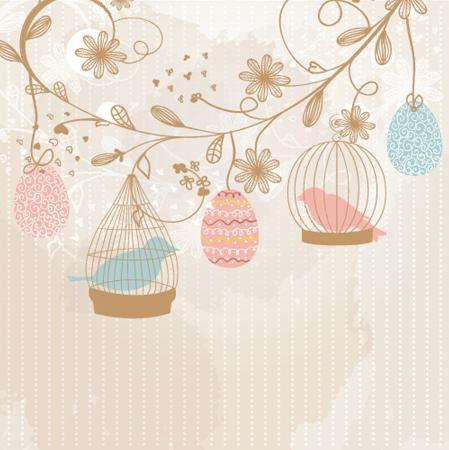 レトロなケージの中で 2 つのかわいい鳥とビンテージのカード 写真素材