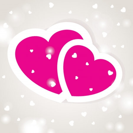 Cute vector background with two pink hearts Vector