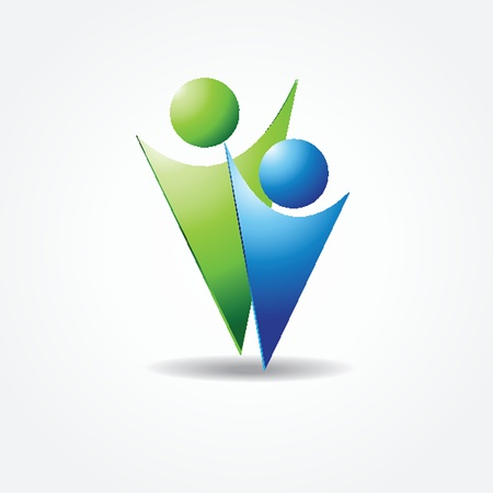 icon of two people in blue and green colors Vector