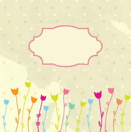 Vintage frame on floral background Vector