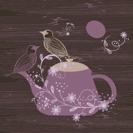 Birds couple on the teapot, hand drawn  Vector