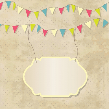 flapping: Vintage frame with birthday bunting flags
