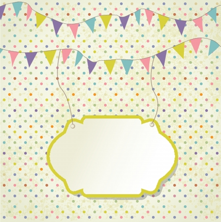 bunting flags: Vintage frame with birthday bunting flags
