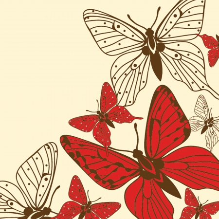 hand drawn wings: Various  butterflies on  background
