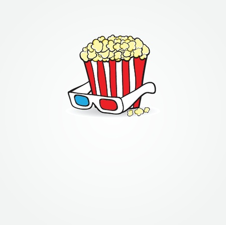 Popcorn and 3d glasses  Cinema concept Vector