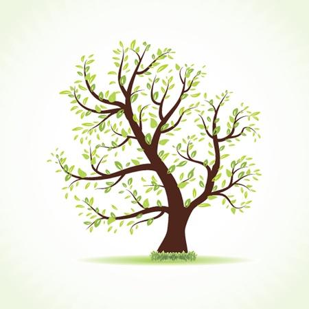 bomen zwart wit: Illustratie van mooie voorjaar achtergrond