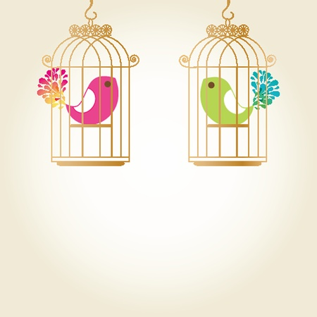 Cute  love birds in birdcage photo