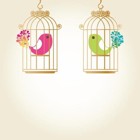 Cute  love birds in birdcage Stock Photo