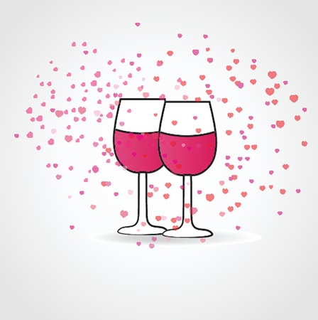 Love drink ,with two wine glasses and hearts Vector