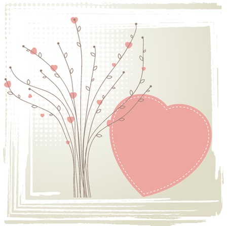 Cute vector background with vintage hearts Vector