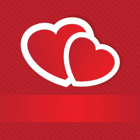 Valentines cards with two hearts and place for your text  Vector