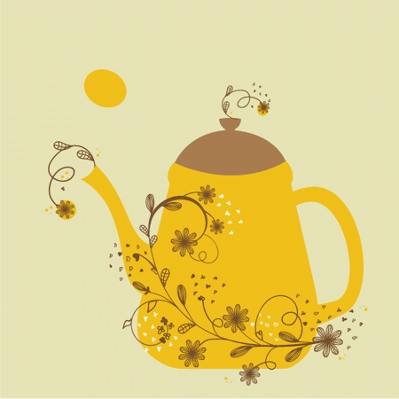 Cute vintage card with teapot and floral branch Vector