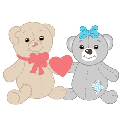 Cute bears couple  Valentines card Vector