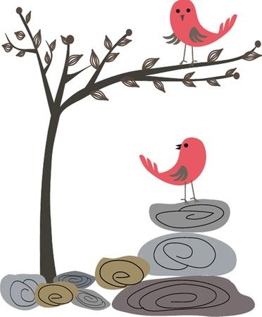 Biglietto di auguri carino con uccelli su un altalena