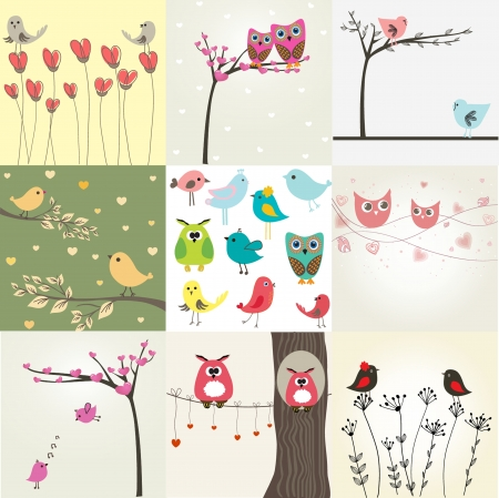 Set of 9 valentines cards with cute birds couples photo