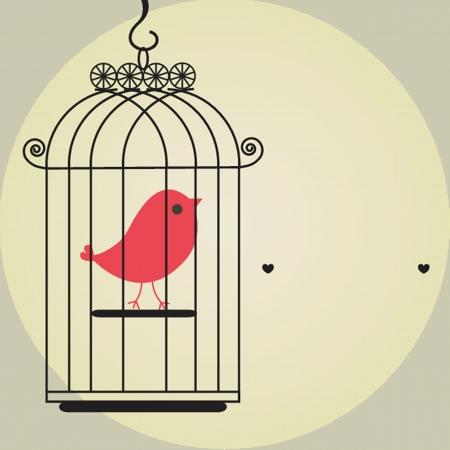vintage bird: Cute bird in birdcage