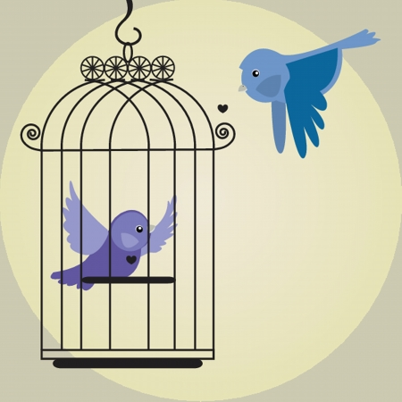 Cute bird in birdcage Vector