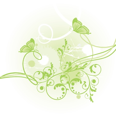 Floral card with butterflies Vector