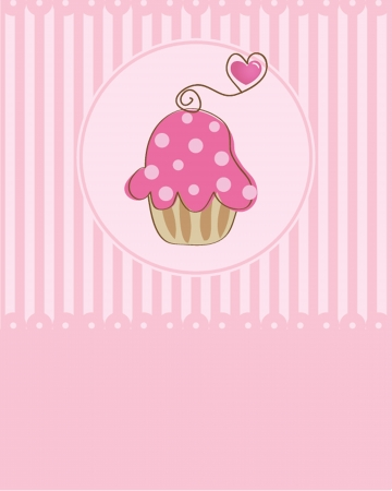 Cute vector background with small cupcake Vector