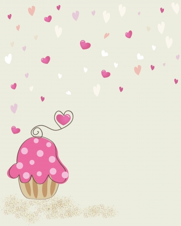 Cute vector background with small cupcake photo
