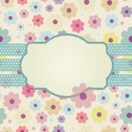 Vintage vector frame on floral background Vector