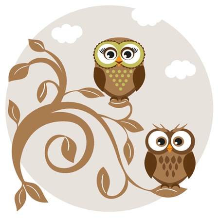 Two cute owls on the tree branch Imagens - 19459160