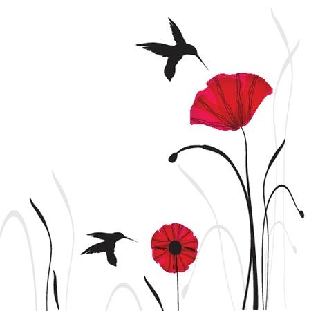 美容ポピーと春のカード  イラスト・ベクター素材