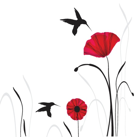 Spring card with beauty poppies  Ilustrace