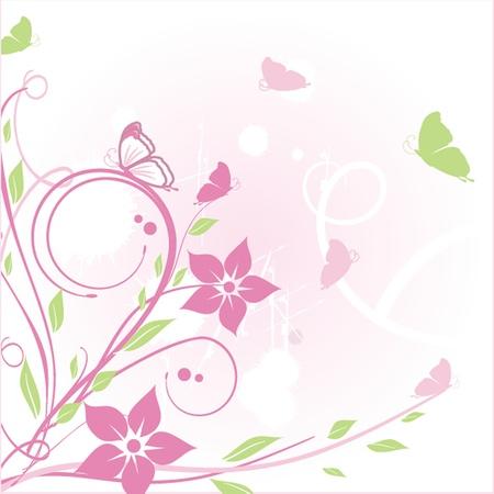 Carte florale avec le papillon