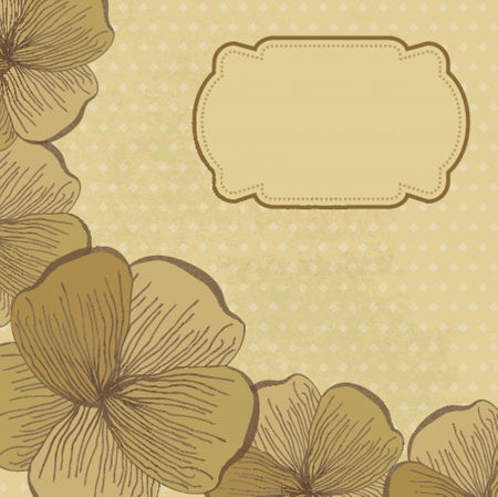 Vintage card with hand drawn flowers Vector