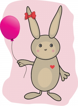 Abstract cartoon  easter card with cute bunny photo